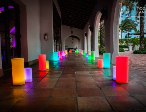 Large Candles changing colors at The Bath Club