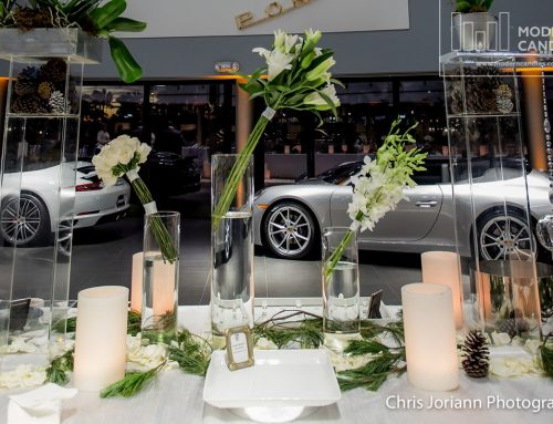 Large Candles For a Private Event at Champion Porsche Dealership