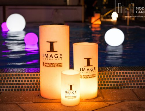 Large Candles and LED Glow Spheres for Image Skincare event at Eden Roc Miami