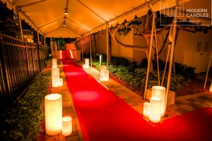 Red carpet event large candles