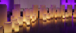 Round large candles luminaries rent